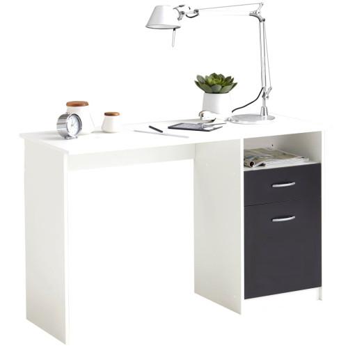 FMD FMD Skrivbord med 1 låda 123x50x76,5 cm vit och svart