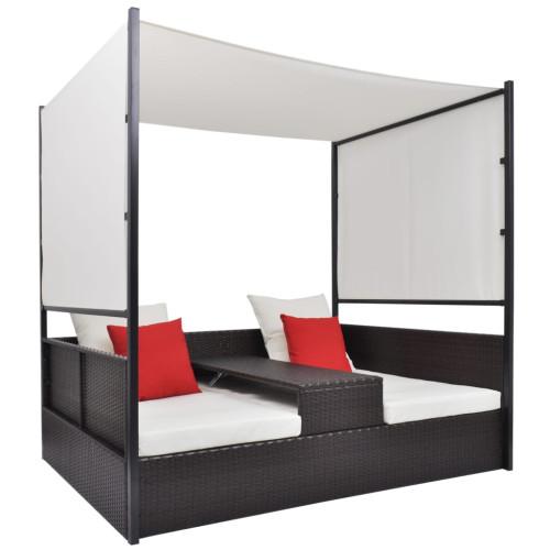 Dream Living Solsäng med tak 200x120 cm konstrotting brun