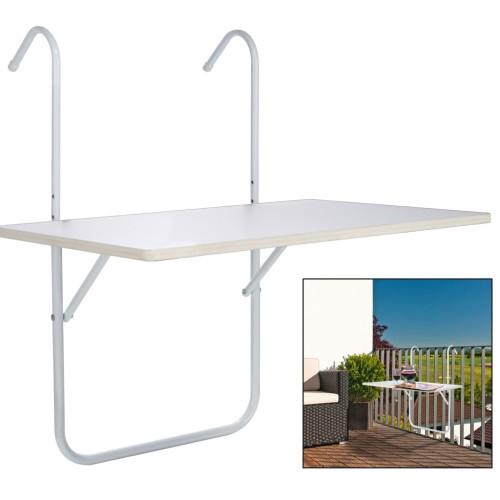 HI HI Hopfällbart balkongbord vit 60x40x1,2cm