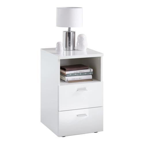 FMD FMD Nattduksbord med 2 lådor vit högglans
