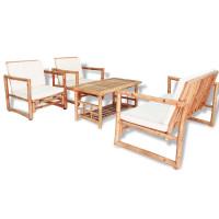 Dream Living Loungegrupp för trädgården med dynor 4 delar bambu