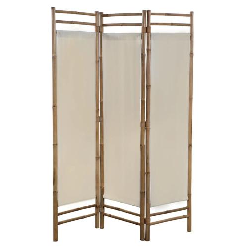 vidaXL Rumsavdelare 3 paneler hopfällbar bambu och kanvas 120 cm