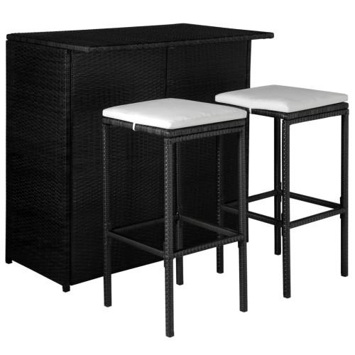 Dream Living Caféset med dynor 3 delar konstrotting svart