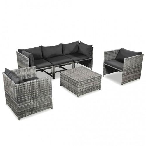 Dream Living Loungegrupp för trädgården 6 delar med dynor konstrotting grå