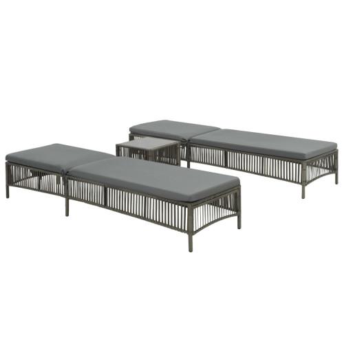Dream Living Solsängar 2 st med bord konstrotting grå