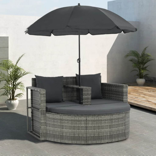 Dream Living Trädgårdssoffa 2-sits med dynor & parasoll konstrotting grå