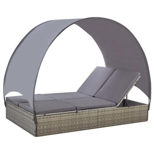 Dream Living Dubbel solsäng med tak konstrotting grå
