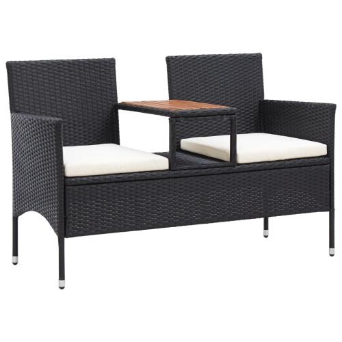 vidaXL Trädgårdsbänk 2-sits med bord 143 cm konstrotting svart
