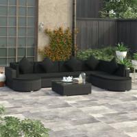Dream Living Loungegrupp för trädgården med dynor 8 delar konstrotting svart