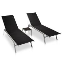 Dream Living Solsängar 2 st med bord stål och textilene svart