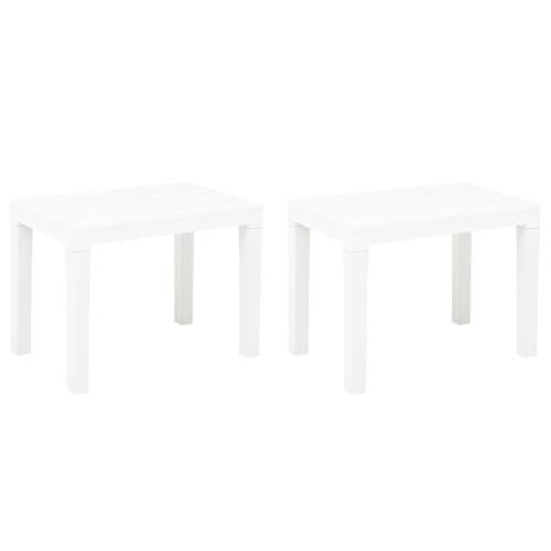 vidaXL Trädgårdsbänkar 2 st vit plast
