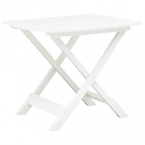 vidaXL Hopfällbart trädgårdsbord vit 79x72x70 cm plast