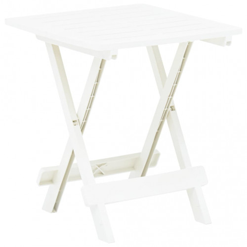 vidaXL Hopfällbart trädgårdsbord vit 45x43x50 cm plast