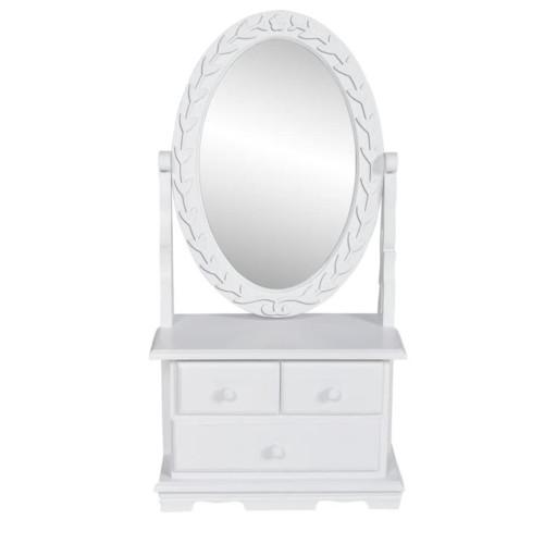 vidaXL Bordsspegel med justerbar oval spegel MDF