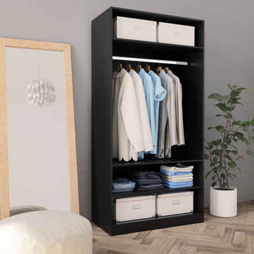 Dream Living Garderob svart 100x50x200 cm spånskiva