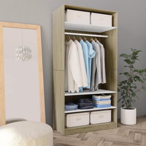 Dream Living Garderob vit och sonoma-ek 100x50x200 cm spånskiva