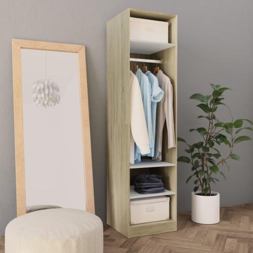 Dream Living Garderob vit och sonoma-ek 50x50x200 cm spånskiva