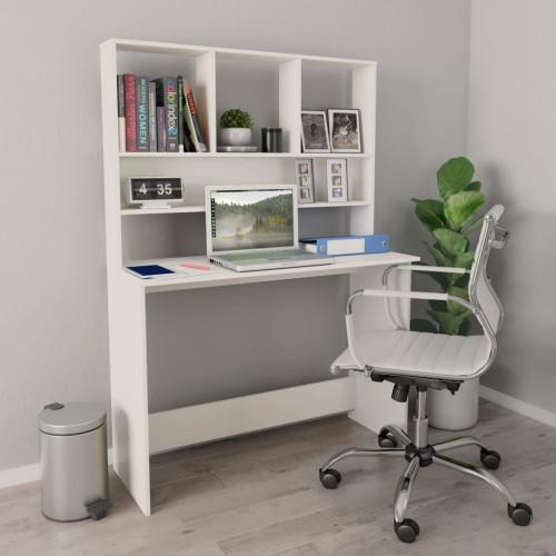vidaXL Skrivbord med hyllor vit 110x45x157 cm spånskiva