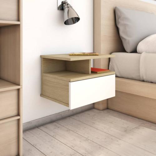 Dream Living Svävande sängbord vit och sonoma-ek 40x31x27 cm spånskiva