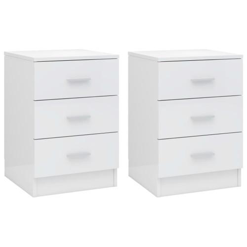 Dream Living Sängbord 2 st vit högglans 38x35x56 cm spånskiva
