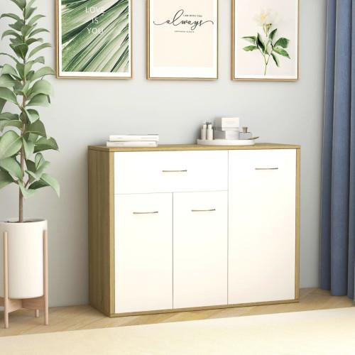 Dream Living Skänk vit och sonoma-ek 88x30x70 cm spånskiva