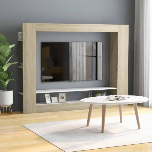 Dream Living TV-bänk vit och sonoma-ek 152x22x113 cm spånskiva