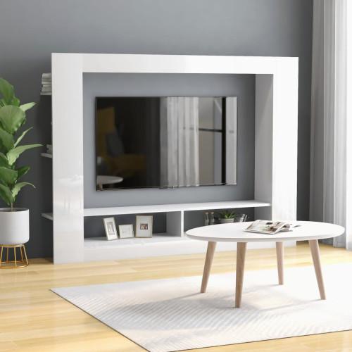 Dream Living TV-bänk vit högglans 152x22x113 cm spånskiva