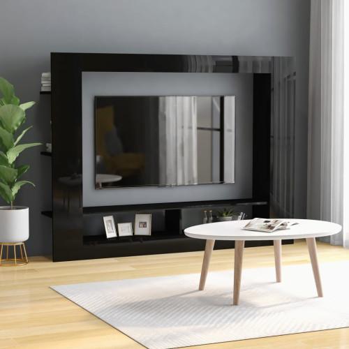 Dream Living TV-bänk svart högglans 152x22x113 cm spånskiva