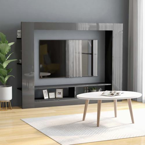 Dream Living TV-bänk grå högglans 152x22x113 cm spånskiva