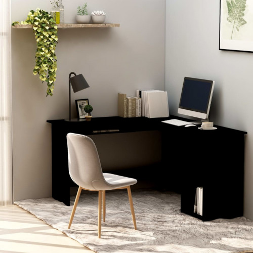 Dream Living Skrivbord L-format svart 120x140x75 cm spånskiva