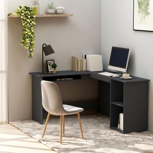Dream Living Skrivbord L-format grå 120x140x75 cm spånskiva