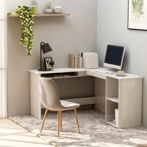 Dream Living Skrivbord L-format vit högglans 120x140x75 cm spånskiva