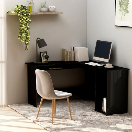 Dream Living Skrivbord L-format svart högglans 120x140x75 cm spånskiva