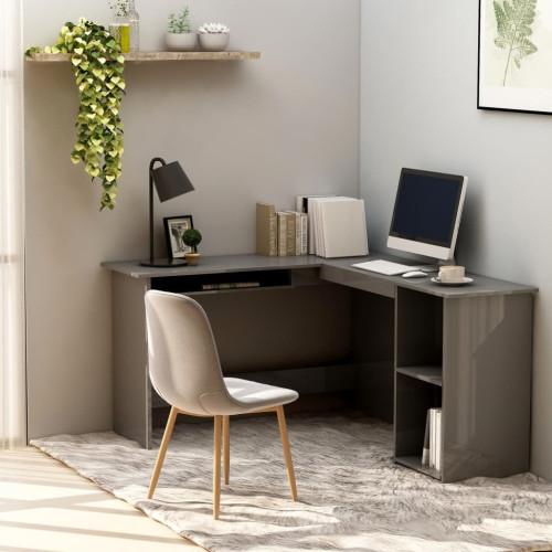 Dream Living Skrivbord L-format grå högglans 120x140x75 cm spånskiva