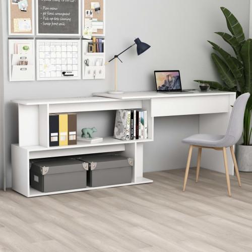 vidaXL Skrivbord hörn vit 200x50x76 cm spånskiva