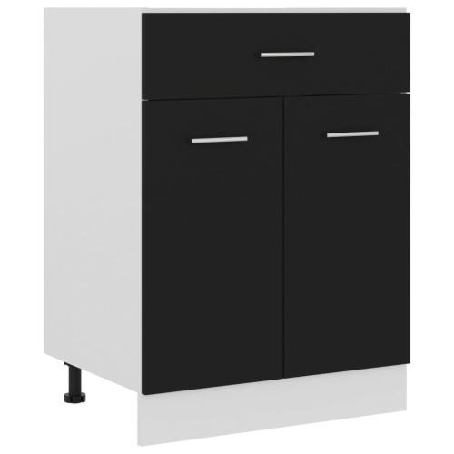 vidaXL Underskåp med låda svart 60x46x81,5 cm spånskiva