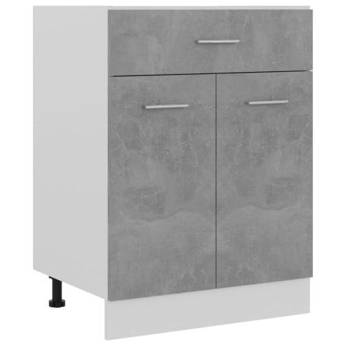 vidaXL Underskåp med låda betonggrå 60x46x81,5 cm spånskiva