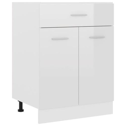 vidaXL Underskåp med låda vit högglans 60x46x81,5 cm spånskiva