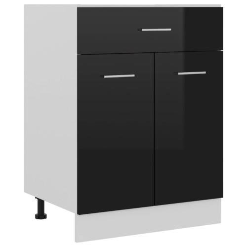 vidaXL Underskåp med låda svart högglans 60x46x81,5 cm spånskiva