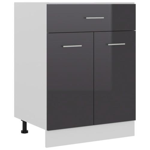 vidaXL Underskåp med låda grå högglans 60x46x81,5 cm spånskiva
