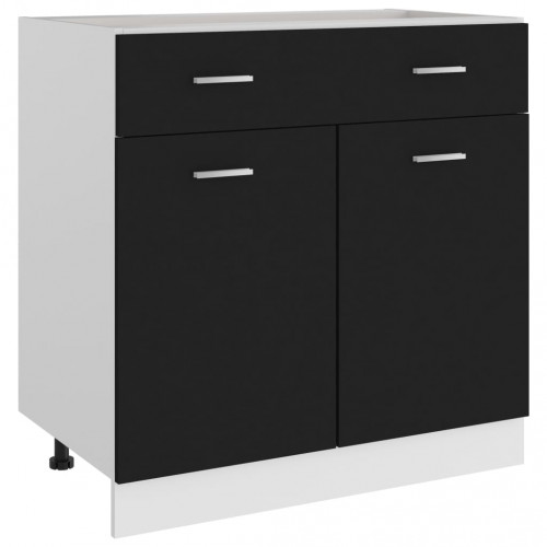 vidaXL Underskåp med låda svart 80x46x81,5 cm spånskiva