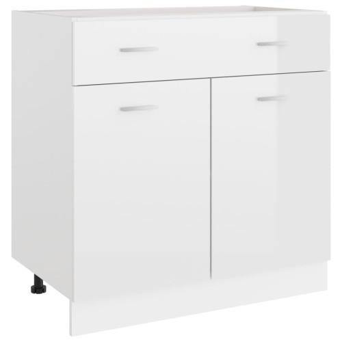 vidaXL Underskåp med låda vit högglans 80x46x81,5 cm spånskiva