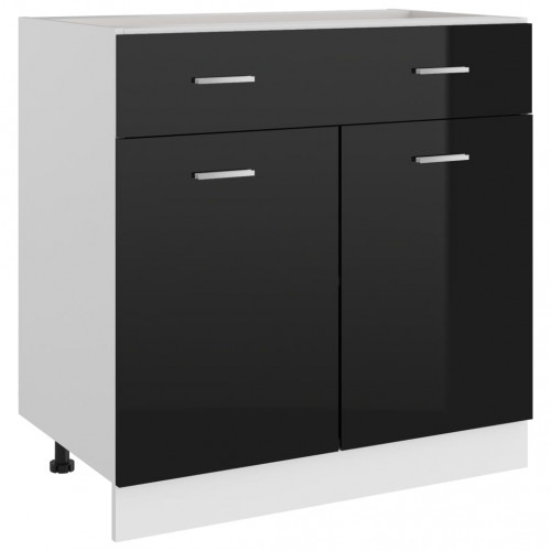 vidaXL Underskåp med låda svart högglans 80x46x81,5 cm spånskiva