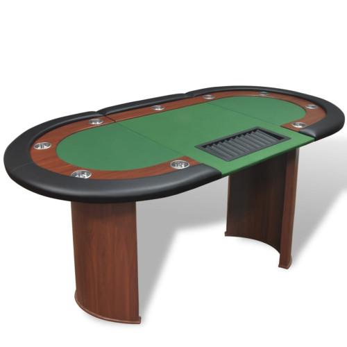 vidaXL Pokerbord för 10 spelare med dealerplats grön