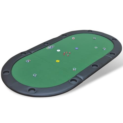 vidaXL Pokerbord hopfällbart för 10 spelare med dealerplats grön