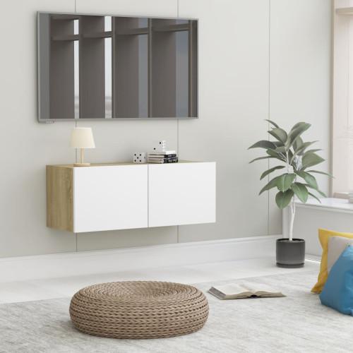 Dream Living TV-bänk vit och sonoma-ek 80x30x30 cm spånskiva