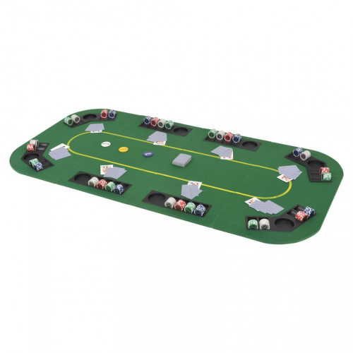 Dream Living Hopfällbar pokerbordsskiva 8 spelare rektangulärt 4-sidigt grönt