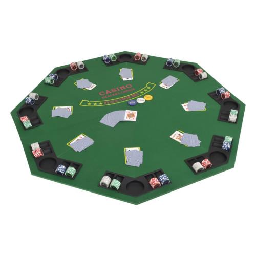 Dream Living Hopfällbar pokerbordsskiva 8 spelare åttkantigt 2-sidigt grönt