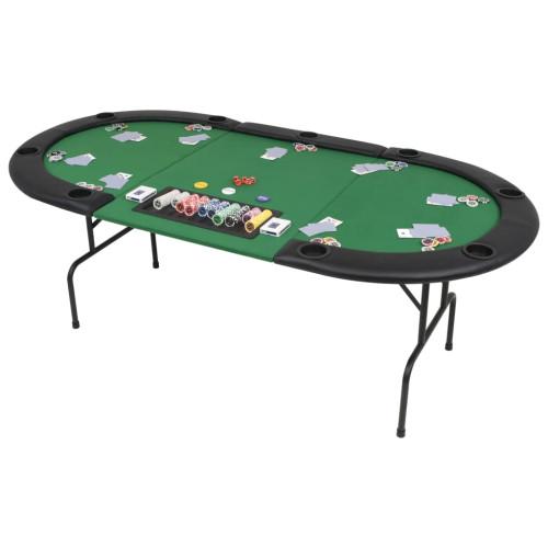 vidaXL Hopfällbart pokerbord 9 spelare ovalt 3-sidigt grönt
