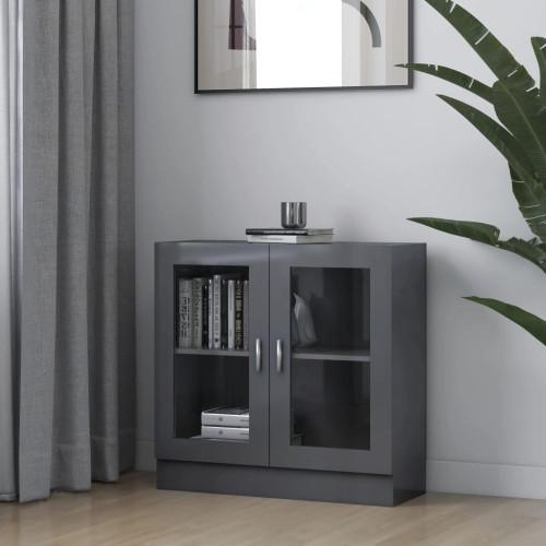 vidaXL Vitrinskåp grå högglans 82,5x30,5x80 cm spånskiva
